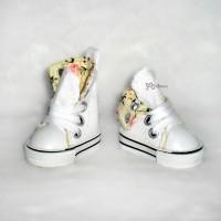 Yo-SD Albu Dog Taeyang Shoes Denim Folded Boots White SHU059WHE