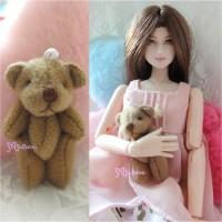 WAB001BRN 1/6 bjd Momoko Blythe 4cm Mini Plush Teddy Bear Brown