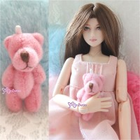 WAB001PNK 1/6 bjd 4cm Mini Plush Teddy Bear Pink