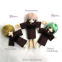 WHB003RED Hujoo Baby Obitsu 11cm Doll Picco Neemo Yukata Red