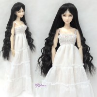 "WM27-SL-BK 1/6 Bjd 3.5""-4"" Long Wavy Braids Heat Resistant Wig Black"