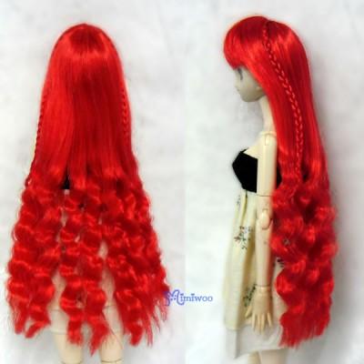 """WM27-SL-RD 3.5""""-4"""" Long Wavy Braids Heat Resistant Doll Wig Red"""