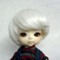 "Hujoo Baby Heat Resistant 4-5"" Shaggy Wig Silver 公仔 假髮 WM21-07-SL"
