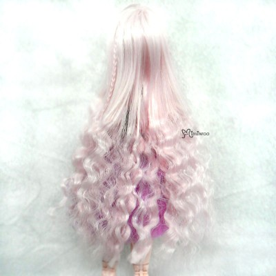 "WM27-SL-MSP 3.5""-4"" Long Wavy Braids Heat Resistant Doll Wig Pink MIX Silver"