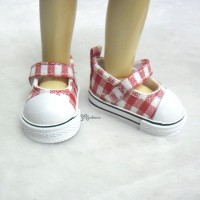 Yo-SD Leeke Doll Maryjane Denim Shoes Checker Red SHU052RED