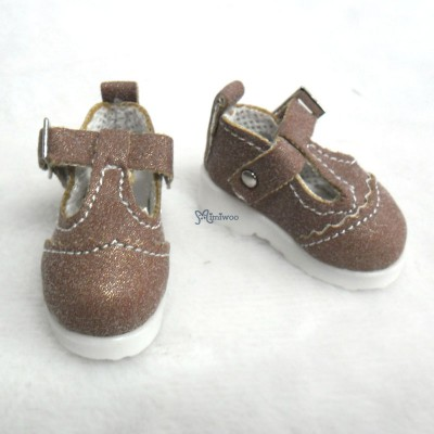 Yo-SD 1/6 bjd Leeke Doll T-Strap Shoes Shiny Brown SHU061BRN