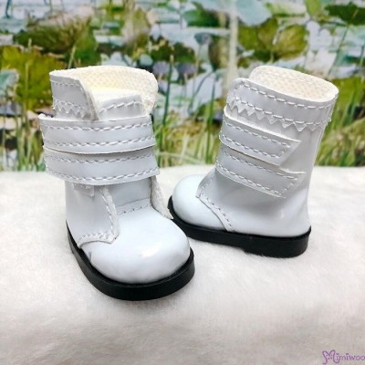 Yo-SD 1/6 bjd Doll Shoes Double Strap Boots WHITE SHU073WHE