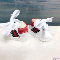 Yo SD 1/6 bjd Doll Shoes Sport Running Sneaker White with Red Stripe (Foot 4.5cm) SHU081WRD