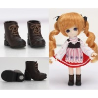 11SH-F005BR-G Obitsu 11cm Doll Shoes Magnet Short Boots Brown