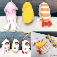 Monchhichi 8cm Plush Sushi Mascot Shrimp Sea Urchin Sqiud 壽司吊飾 大蝦 海膽 魷魚 (Set of 3pcs) 234750+60+70