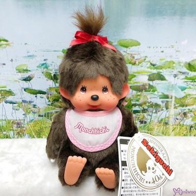 Monchhichi S Size Sitting Girl MCC Pink Bib 239010