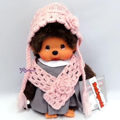 Sekiguchi Monchhichi S Size Dressed Knit Shawl & Cap Girl 239710