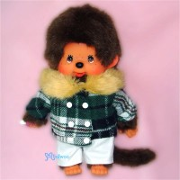 Monchhichi S Size Dressed Fur Collar Checker Jacket Boy 239830