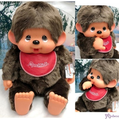255850 Monchhichi 2L Size (Largest) 50cm Red Bib Soft Head Sitting Girl
