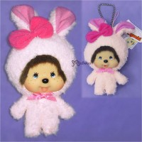 Monchhichi Big Head Keychain Mascot Charming Animal Bunny 255880