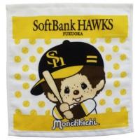 337003 Sport Monchhichi 日本製 全綿 毛巾 34 x 36cm Small Towel Yellow Hawks Baseball ~ Made in Japan