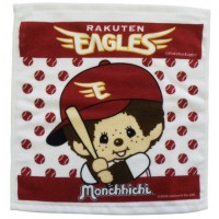 337058  Sport Monchhichi 日本製 全綿 毛巾 34 x 36cm Small Towel Red Eagles Baseball ~ Made in Japan