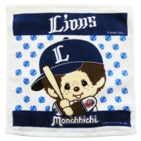 337188 Sport Monchhichi 日本製 全綿 毛巾 34 x 36cm Small Towel Blue Lions Baseball ~ Made in Japan