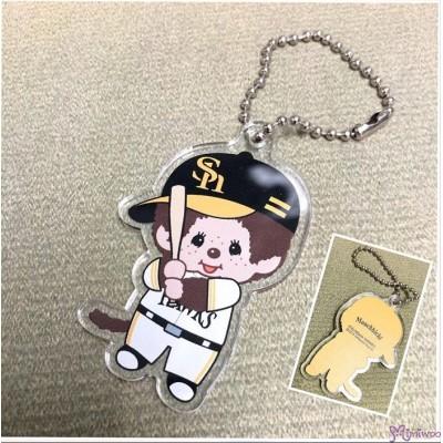 337379 Fukuoka Softbank Hawks x  Monchhichi 6cm Mascot Baseball Boy