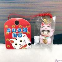 Monchhichi Mascot Ceramics Lucky Cat 陶瓷 招財貓 鈴鈴 吊飾 PINK 499030