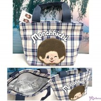 Monchhichi Lunch Bag 22 x 15.5 x 5cm Insulation Handbag 藍白格 保溫袋 MB42859