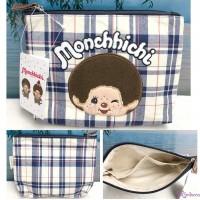 Monchhichi Blue & White Checker 22 x 15.5 x 5cm Bag  藍白格 拉錬 手袋仔 MB42860