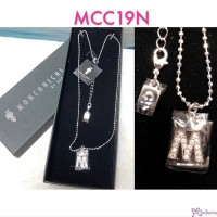 "Monchhichi Jewelry by Sekiguchi Crystal Necklace 純銀 水晶 頸鍊 - ""M"" word MCC19N"