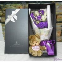 Monchhichi S Size Bear 啤啤熊 + 情人節 肥皂花 花束 Soap Flower Rose Gift Box Set