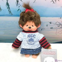 Monchhichi S Size Plush Crying Girl with Turtleneck Shirt & Jeans Skirt XA58 ~~ RARE ~~