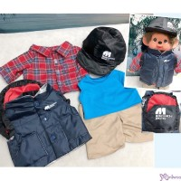 XA67 Monchhichi L Size Outdoor Outfit Set - Hat Tee Shirt Vest Pants Backpack