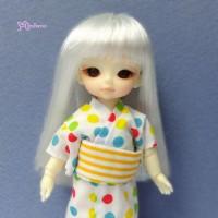 "WM21-02-SL Hujoo Baby Bjd 4-5"" Heat Resistant Long Wig Silver"