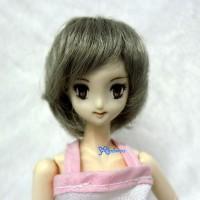 """WM27-BOB-DGY 3.5""""-4"""" Short Bob Heat Resistant 1/6 Doll Wig Dark Grey"""