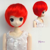 "WM27-BOB-RD 3.5""-4"" Short Bob Heat Resistant 1/6 Wig Red"