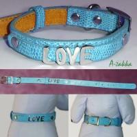 Pet Fashion -  PU Leather Dog Chain Blue M Size NDA013BLE-M