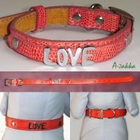 Pet Fashion -  PU Leather Dog Chain Red M Size NDA013RED-M