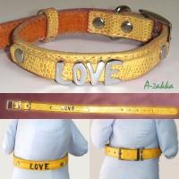 Pet Fashion -  PU Leather Dog Chain Yellow M Size NDA013YEW-M