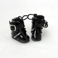 Middie B 2.2cm Doll Shoes Buckle Boots Black SBB006BLK