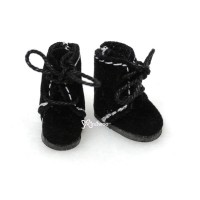Middie B 2.2cm Doll Shoes Flocked Boots Black SBB008BLK