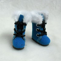Middie B 2.2cm Doll Shoes Plushy Boots Blue SBB020BLE