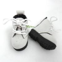 1/6 Bjd Neo B Doll Shoes Velvet Boots Grey White SHP187WHE
