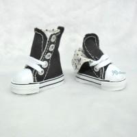 SHU059BLK Yo-SD Albu Dog TY Doll BJD Shoes Denim Folded Boots Black