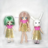 WHB007 OB 11cm Doll Figure One-piece Dress Gold