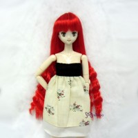 "WM27-SL-RD 3.5""-4"" Long Wavy Braids Heat Resistant Doll Wig Red"